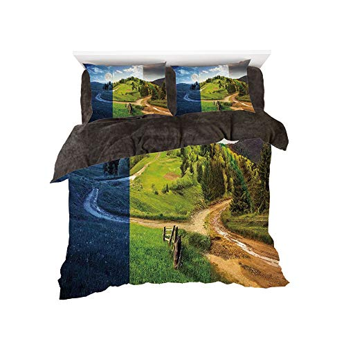 All Season Flannel Bedding Duvet Covers Sets for Girl Boy Kids 4-Piece Full for bed width 4ft Pattern by,Apartment Decor,Collage of Three Autumn Scene on Cross Road Hillside Meadow in Mountain Range,M -