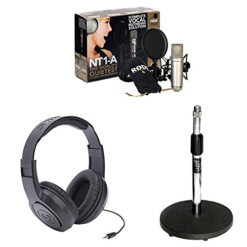 (Rode NT1-A Cardioid Condenser Microphone Recording Package with Samson SR350 Closed-Back Around-the-ear Studio Headphones and Round Base Microphone Desk Stand-Black)