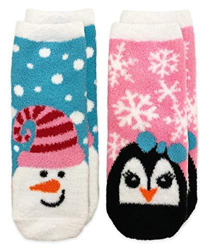 - Jefferies Socks Girls' Little Snowman and Penguin Fuzzy Non-Skid Slipper Socks 2 Pair Pack, Turquoise, Small