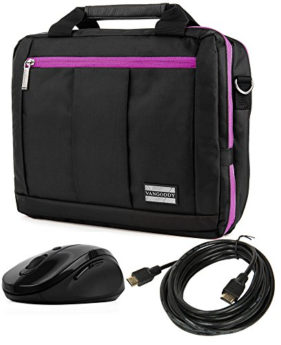 "Price comparison product image Messenger Laptop Purple Bag & Wireless USB Mouse & 15' HDMI Cable for Dell Laptops 13""-14"""