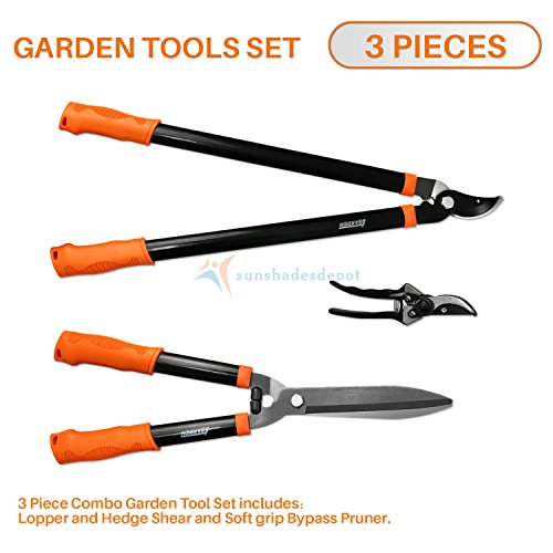 Sunshades Depot iGarden 3 Pieces Combo Gardening Lawn Plant Tools Set with 1 x Lopper,1 x Hedge Shears and 1 x Pruner Shears Tree & Shrub Care Kit Hand Tool Kit.
