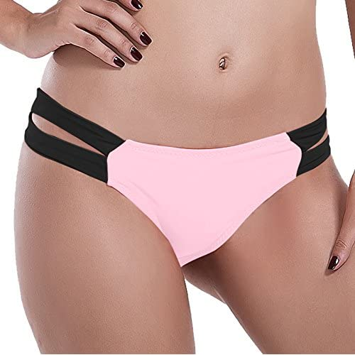 e594501130eb7 Reteron Women s Retro Brazilian Strappy String Bikini Bottom 2 Pack M Pink  Black cheap