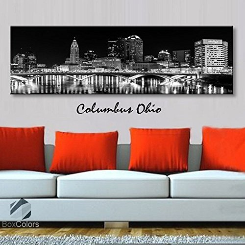Original by BoxColors Single panel 3 Size Options Art Canvas Print Columbus Ohio City Skyline Panoramic Downtown Night black & white Wall Home Office decor (framed 1.5