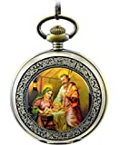 Infinite U The Virgin Maria and Jesus Christ Roman Numerals Steel Mechanical Pocket Watch