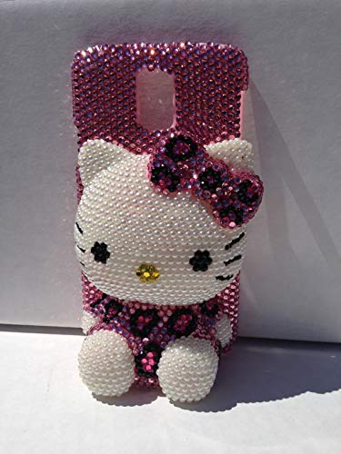 Samsung Galaxy Note 9 Hello Kitty 3D Jumbo SIT Pink leopard cheetah Bling Bling crystals diamond case cover ^ Jewelly *FREE phone holder/CABLE WINDER USA seller