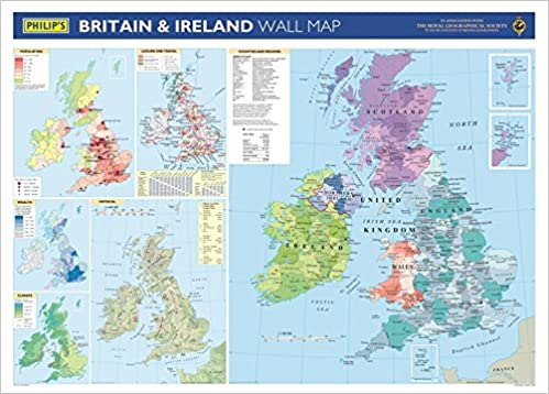 Map Of Ireland With Towns And Cities.Philip S Britain And Ireland Wall Map School Edition Amazon Co Uk