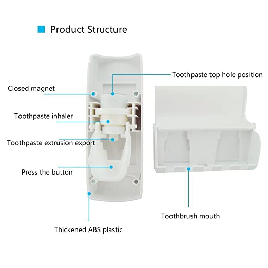 Amazon.com: Hands Free Toothpaste Dispenser Automatic Toothpaste Squeezer with 5 Toothbrush Holds,No Power Required(White): Beauty