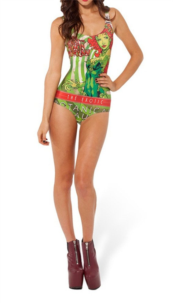 Summer Digital Printing Poison Ivy Pattern Women Tight Stretch One Piece Swimsuit