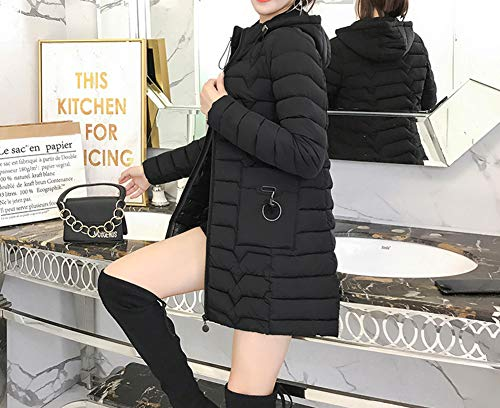 Donna Staccabile Moda E Cappuccio Con Giacca Imbottito Plus Piumino Nero Size Lunga Slim 0xq58wggE