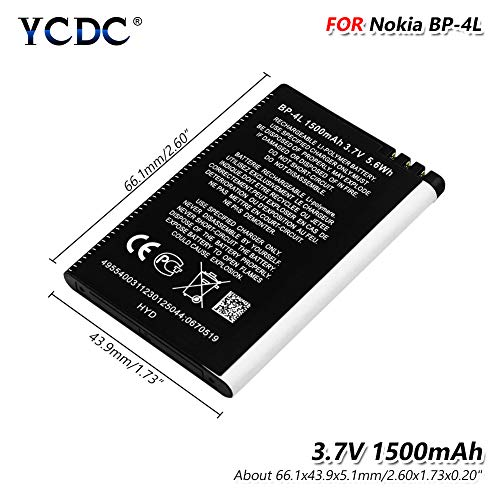 YCDC 3.7V BP-4L BP4L Battery 1500mAh High Capacity for Nokia E61i E63 E72 E73 6650F,Smart Phone 3.7V 1500mAh Battery BP-4L BP 4L for Nokia E61i E55 E95 N810 N97