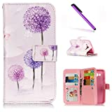 Samsung Galaxy J5 Case EMAXELER Butterflies Design Nine Card 3D Pattern Soft PU Leather Flip Leather Wallet [Credict Holder] Protective Case Stand Feature for Samsung Galaxy J5008 Purple Dandelion