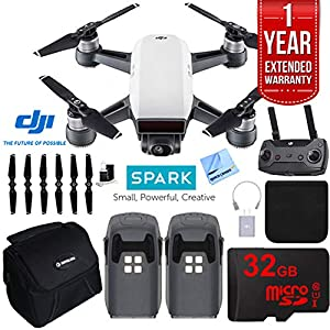DJI Spark Alpine White Quadcopter Drone 32GB Essentials Bundle Spark Deluxe Extended Warranty Kit