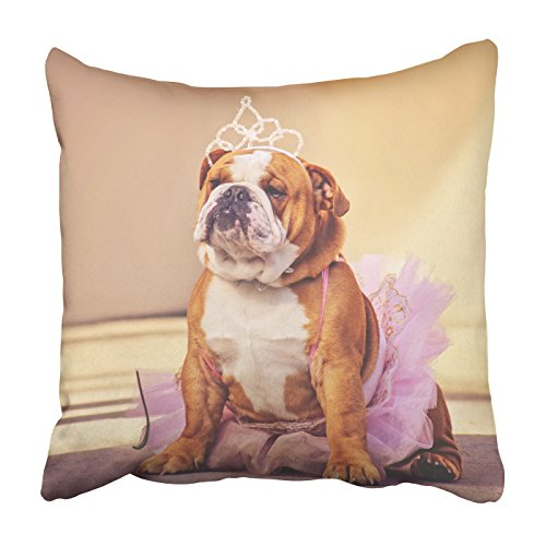 Emvency Square Throw Waist Pillow Case 18x18 Inches Decorative Cushion Pillowcases bulldog dressed up in a pink tutu Throw Pillow Cover With Hidden Zipper For Bedroom Decor Sofa Couch