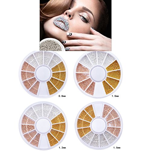 Sindy Nail Metal Caviar Pearls Wheel Design Fashion Gold Silver Rose Gold Nail Steel Ball Nail Tools Design (Mixed 4size)