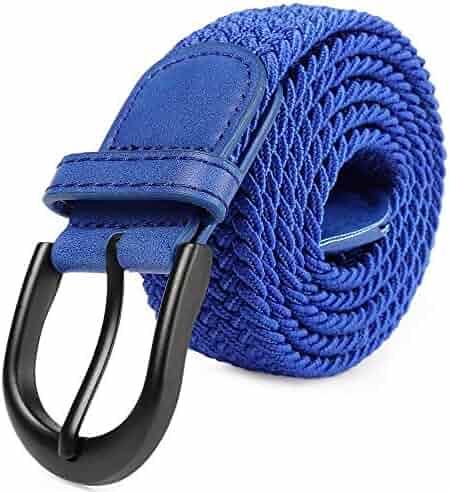 0ee780c20f549 Braided Stretch Elastic Belt Pin Oval Solid Black Buckle Leather Loop End  Tip Men/Women