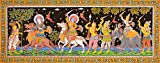 Jagannatha, Baladev, Manika the Milk-Maid and King - Water Color Painting on Tussar Silk - Folk Art