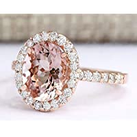 Siam panva Luxury Women Rose Gold Plated Oval Cut Morganite Gem Ring Bridal Jewelry Sz 6-10 (8)