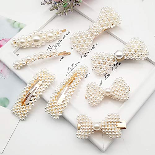 IRUMENG 8Pcs Sweet Artificial Pearl Hair Clips Barrettes Wedding Decorative Bridal Bobby Butterfly Bow Hair Pins for Women Girls Ladies