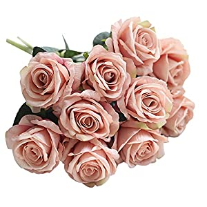 Lankcook 5PC Artificial Fake Roses Flannel Flower Bridal Bouquet Wedding Party Home Decor 35