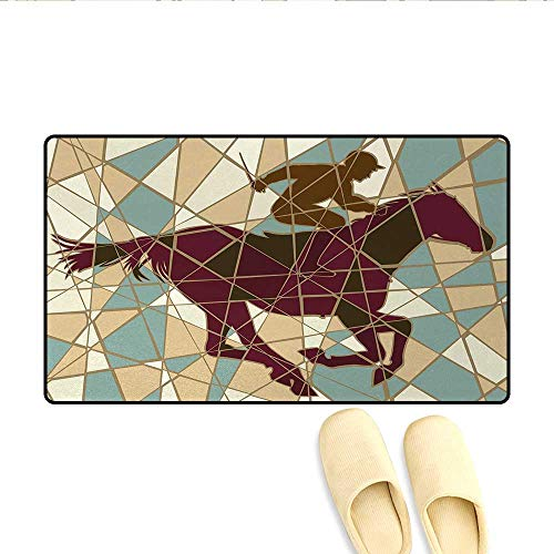 ble Racehorse and Jockey Silhouettes on Pieced Background,Door Mats for Inside Non Slip Backing,Purple Light Brown Teal,Size:24