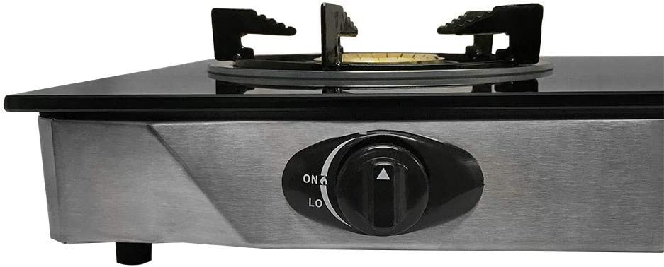Double Stove 2 Gas Burner Tempered Glass Cooktop Steel Body 25k BTU
