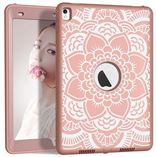 iPad Pro 9.7 Case, A1673/A1674/A1675 iPad Case, Hocase Heavy Duty Shockproof Hybrid Silicone Rubber Hard Protective Case with Cute Floral Pattern for iPad Pro 9.7-inch 2016 - Rose Gold Pink