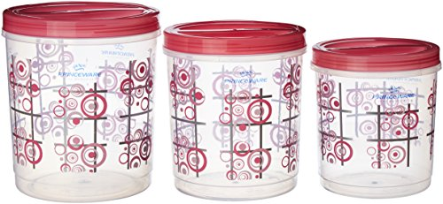 Princeware Twister Package Container, Set of 3, Pink