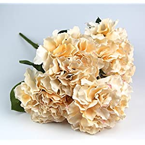 Raylinedo Artificial Champagne Hydrangea Silk Flower 5 Big Heads Bouquet Home Decoration 115