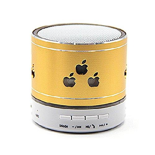 Smileto New Pattern Mini Bluetooth Speaker Apple LED Light Wireless Smart Hands Free Speaker With FM Radio Support TF Card(Gloden)