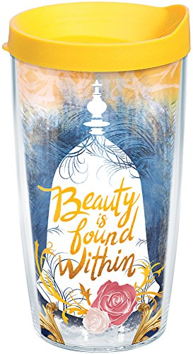 Tervis 1245165 Disney Beast Beauty is Found Within Insulated Tumbler with Wrap and Yellow Lid, 16oz, Clear