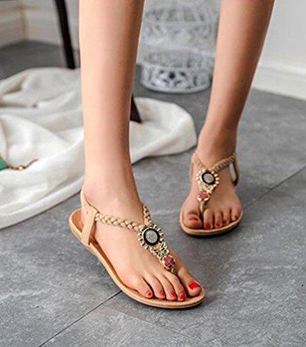 YOUJIA Mujeres Adornos de Metal Elegante T-Correa Bohemia Sandalias Verano Zapatos Planos #3 Beige
