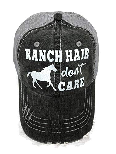 White Glitter Ranch Hair Don't Care Distressed Look Grey Trucker Cap Farm