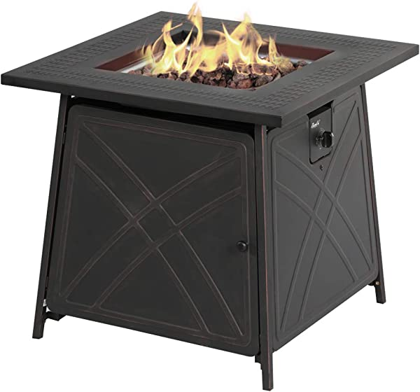 "BALI OUTDOORS Firepit LP Gas Fireplace 28"" Square Table 50,000BTU Fire Pit"