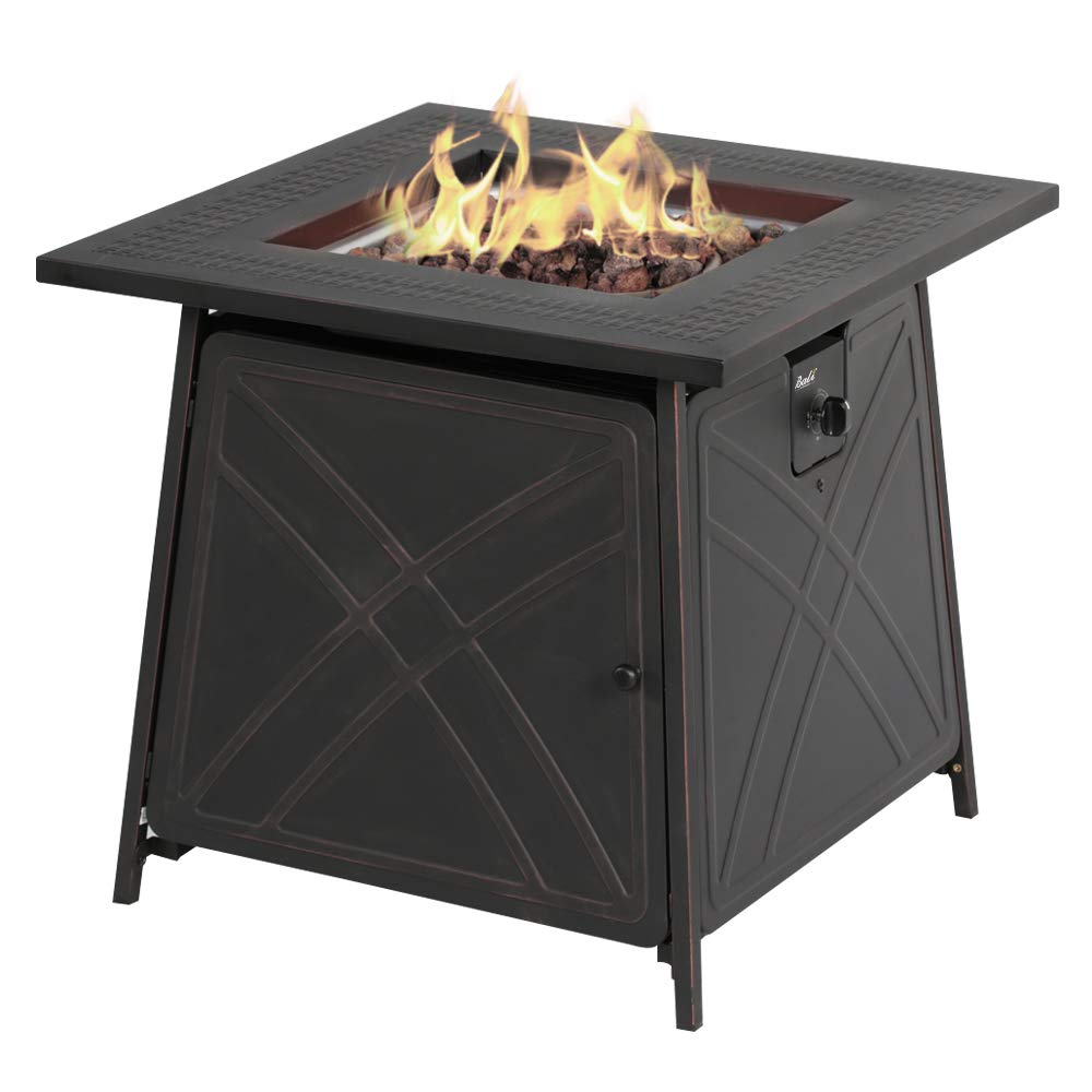 BALI OUTDOORS Firepit LP Gas Fireplace 28'' Square Table 50,000BTU Fire Pit, Best Firetable Black