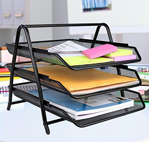 Greenco Mesh 3 Tier Document, Letter Tray, Desk Organizer, Black