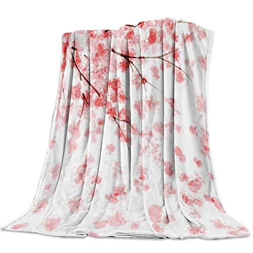 Singingin Ultra Soft Flannel Fleece Bed Blanket Cherry Blossom Throw Blanket All Season Warm Fuzzy Light Weight Cozy Plush Blankets for Living Room/Bedroom