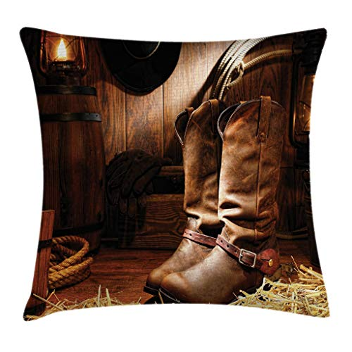 """Ambesonne Western Throw Pillow Cushion Cover, Wild West Theme Boots in Wooden Room Classical Folkloric Old Fashioned Wild Sports Theme, Decorative Square Accent Pillow Case, 20"""" X 20"""", Brown"""