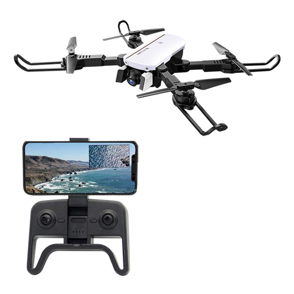 Hisoul Foldable Quadcopter Drone - 2.4 GHz 4CH Built-in Dual-Lens 1080P/480P HD Camera 6-Axis WiFi FPV RC Drone Selfie Quadcopter - Headless Mode, One Key Return, Gesture Photo Control (♥ White)