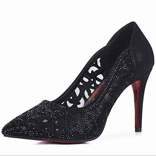 W&LM Hembra Tacones altos piel genuina Piel de carnero Zapatos huecos Ultra Tacones altos Propina Piedras de Strass Respirable Zapatos Black