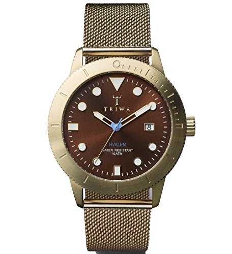 Triwa Chestnut Brown Hvalen with Gold Mesh Band Unisex Men's Watch HVST104 ME021313