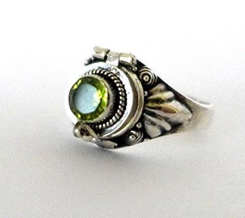 Poison Ring Bali Sterling Silver Locket Ring Secret Compartment Peridot AR11