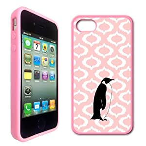 Love Penguins Baby Pink Ikat Hipster Pink Silicon Bumper iPhone 4 Case Fits iPhone 4 & iPhone 4S