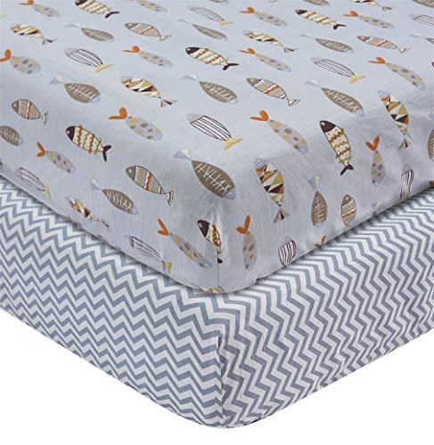 100% Cotton Crib Sheets Top Quality Nursery Bedding for Boy 2 Pack Soft Baby Shower Gift Gray Little Fish and Stripes