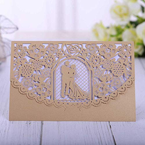 Wedding Card - Wedding Gift Card - 3d Wedding Card - Piece Romantic Wedding Invitation Card Delicate Carved Small Floral Pattern Laser Cut Mr Mrs Wedding Name Card Party Favors.