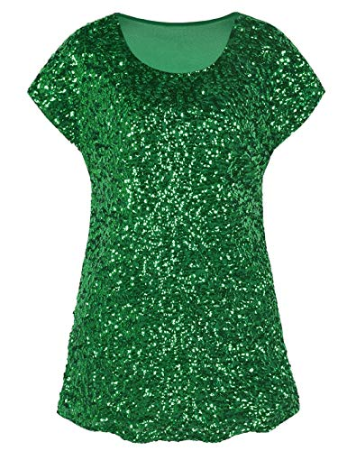PrettyGuide Women's Evening Tops Sparkle Shimmer Glam Sequin Blouse Green XL/US18-20]()