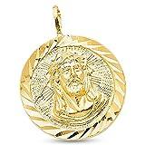 14k Yellow Gold Round Jesus Stamp Pendant Christ Medal Charm Diamond Cut Solid 20 x 20 mm