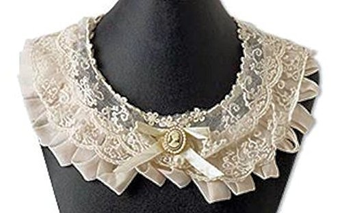 Victorian Dresses | Victorian Ballgowns | Victorian Clothing Cameo Collar Lace Bertha Ivory Victorian Civil War Ball  AT vintagedancer.com