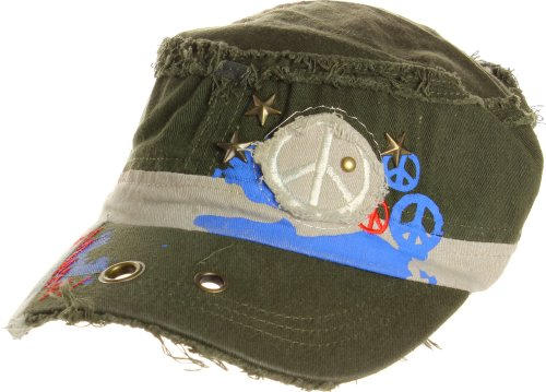 - AN1225 Women's Spring Summer Star and Peace Sign Embroidered Cadet Caps - Olive