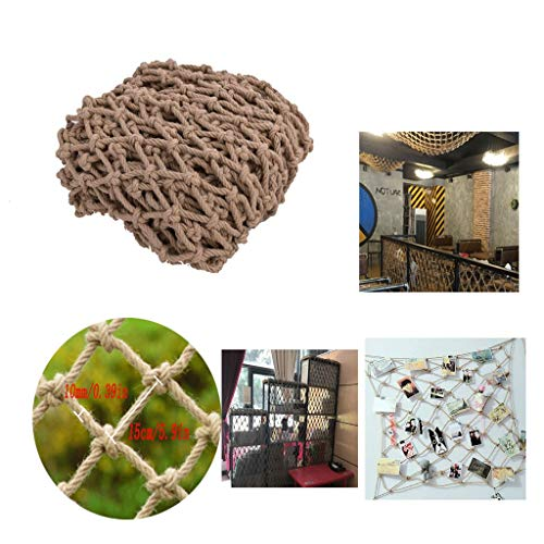 Hemp Rope Decoration Net Ceiling Divider Net Hanging Clothes Network Photo Wall Net Children's Stairs Safety Fence Net Multi-Functional Hand-Woven 10mm Rope 150 150mm Grid Spacing (Size : 16m)