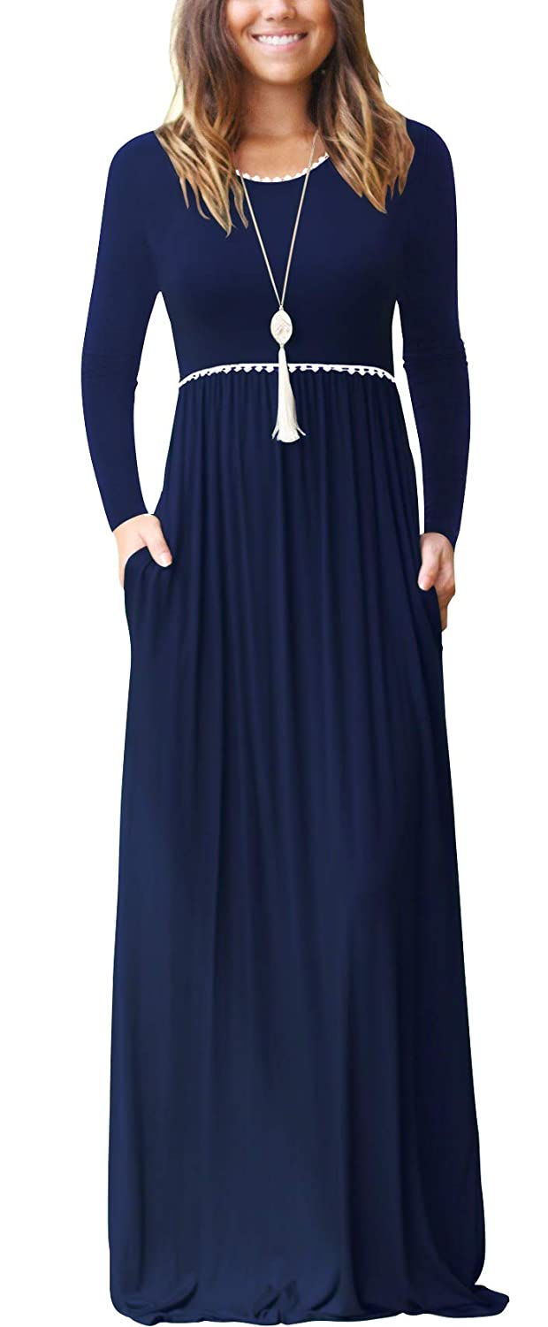 02 Long Sleeve Navy bluee WEACZZY Women's Sleeveless Loose Plain Vacation Days Maxi Dresses Casual Long Dresses with Pockets